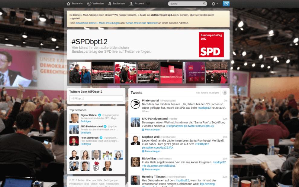 Twitterseite zum SPD Bundesparteitag