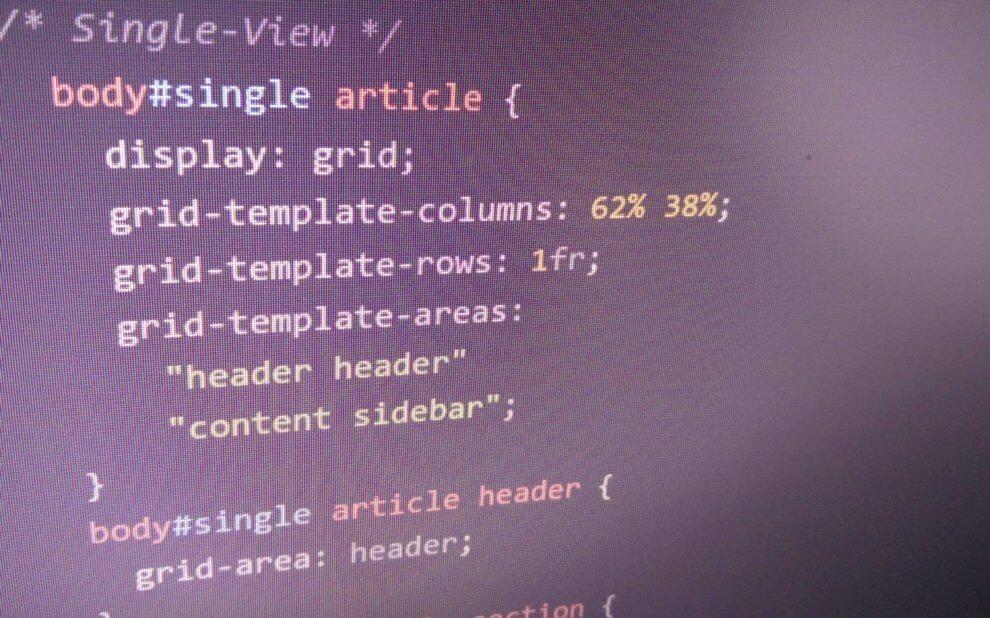 Screenshot von CSS mit CSS Grid
