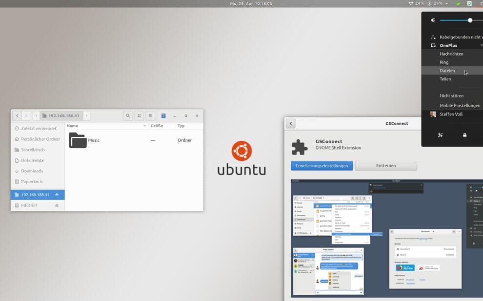 Ubuntu Desktop mit verschiedenen offenen Fenstern, die GSConnect in Aktion zeigen