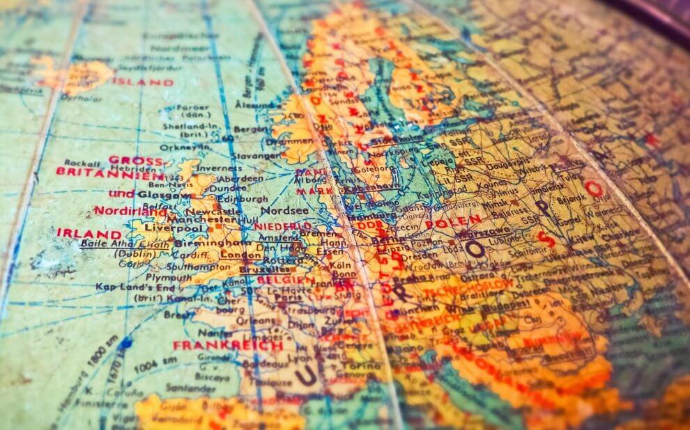 Globus mit Europa im Fokus