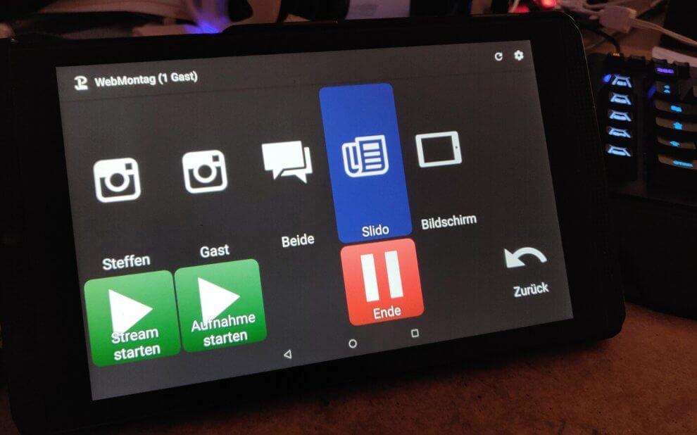 Touch Portal auf einem kleinen Tablet mit Settings zum Streamen